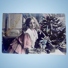 Tinted French Real Photo Postcard, Girl, Doll and Tree, Postmarked 1906