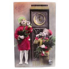 French Tinted Real Photo Postcard, Dutch Greeting, Children Toasting the New Year, Postmarked 1933