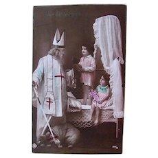 French Tinted Real Photo Postcard, Santa, Children, Teddy Bear and Doll, Circa 1910s