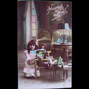 French Tinted Real Photo Postcard, Girl, Doll and Dog, Circa 1910s