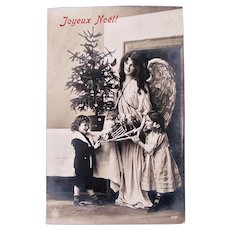 French Real Photo Postcard, Angel, Children, Doll and Toys, Early 1900s