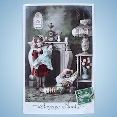 French Tinted Real Photo Postcard, 2 Girls, 2 Dolls, Christmas, Postmarked 1907