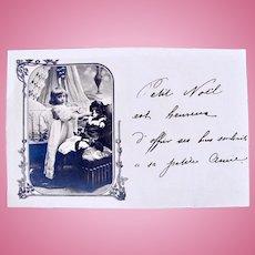 French Real Photo Postcard, Girl Feeding Her Bébé, Circa Early 1900s