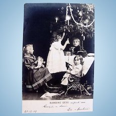 Italian Real Photo Postcard, Dolls, Children and Tree, Dated 1902