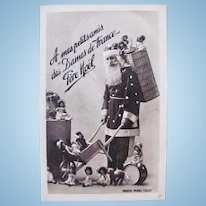 Bleuettes with Santa Claus, French Real Photo Postcard, Circa 1920s