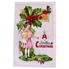 Christmas Postcard, Girl, Dolls and Puppy, Embossed, Postmarked Vermont 1916