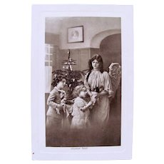 French Real Photo Postcard, Angel, Children, Doll and Toys, Tree, Postmarked 1912