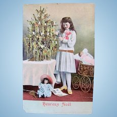 Hand Painted French Christmas Postcard, Girl, Dolls and Tree, Postmarked 1900