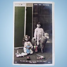 Tinted French Real Photo Postcard, Children, Dolls and Toys, Early 1900s