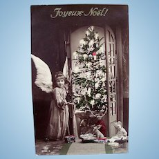 French Tinted Real Photo Postcard, Angel, Doll and Toys, Tree, Postmarked 1912