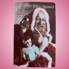 British Tinted Real Photo Postcard, Santa, Doll and Stuffed Fox, Postmarked 1915
