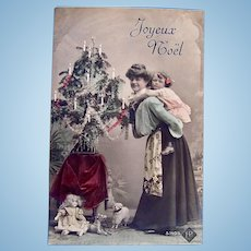Tinted French Real Photo Postcard, Mother, Daughter, Doll and Toys, Circa 1910s