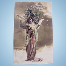 German Tinted Real Photo Postcard, Angel, Stuffed Doll and Teddy Bear, Postmarked 1908