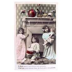 Tinted French Real Photo Postcard, 3 Children, Dolls and Toys, Postmarked 1909