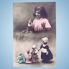 Tinted French Real Photo Postcard, 4 Dolls and Little Girl, Circa 1910s