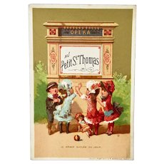 Antique French Chromo Litho Trade Card, Children and Doll, Petit St. Thomas