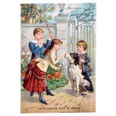 French Antique Litho Trade Card, Children Training Dog, Maison De La Belle Jardinière