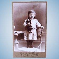 German Carte de Visite Photograph, Little Girl With Doll, Circa Early 1900s