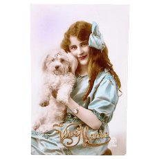 French Tinted Real Photo Postcard, Young Woman and Bichon Frise, Postmarked 1922