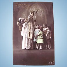 French Tinted Real Photo Postcard, St. Nicholas, Children, Dolls and Toys, Merry Christmas, 1910s