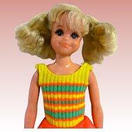 Living Fluff Doll In Original Outfit, Skipper's Playmate, Mattel Vintage 1971