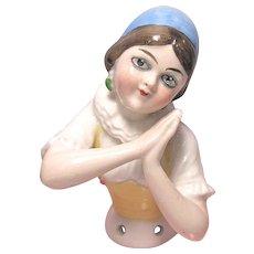 German Porcelain Lady Half Doll, Arms Away, Blue Cap, Green Earrings