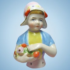 German Porcelain Half Doll, Girl In Cap With Flowers