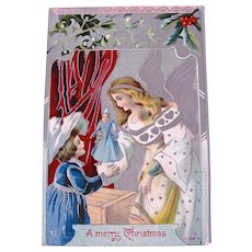 Embossed Christmas Postcard, Angel Giving Little Girl a Doll, A Merry Christmas, Circa 1910s