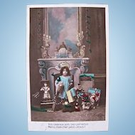 French Tinted Real Photo Postcard, Little Angel, Dolls and Toys, Christmas Card, Circa 1910s