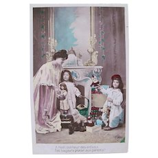 French Tinted Real Photo Postcard, Mother, Children, Doll and Toys, Christmas 1910