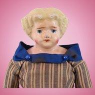 German Doll, Papier-Mache Shoulder Head on Original Body, Circa Late 19th Century