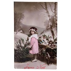 Tinted French Real Photo Postcard, Girl, Christmas Tree, Dolls and Toys, Circa 1910s