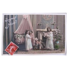 French Tinted Real Photo Postcard, Girls, Dolls, Toys and Tree, Christmas Morning, Early 1900s