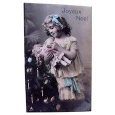 Tinted French Real Photo Postcard, Girl, Doll and Christmas Tree, Circa 1910s