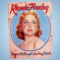Rhonda Fleming Paper Dolls and Coloring Book, Saalfield Vintage 1954, Uncut and Unused