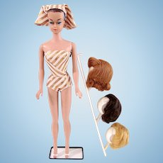 Fashion Queen Barbie with Wigs On Stand, Mattel Vintage 1963