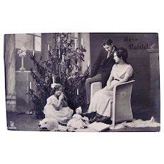Italian Real Photo Postcard, Family Christmas, Doll on Bear Rug, Circa 1910s
