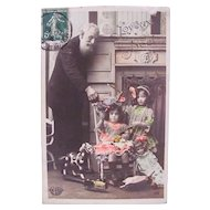 Tinted French Tinted Real Photo Postcard, Girls, Dolls and Toys, Postmarked 1908