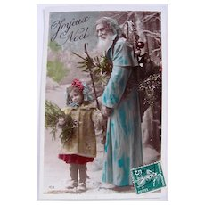 French Tinted Real Photo Postcard, Santa in Blue Robe with Child, Circa 1910s