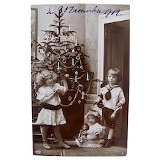 French Real Photo Postcard, Children, Doll and Toys, Dated 1912