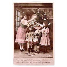 Tinted French Real Photo Postcard, Christmas Tree, Children, Dolls and Toys, Circa 1910s