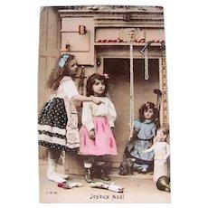 Tinted French Real Photo Postcard, Girls and Dolls, Christmas Circa 1910s