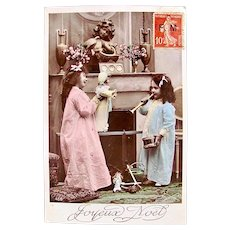 French Tinted Real Photo Postcard, Girls and Dolls, Christmas, Postmarked 1911