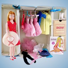 Skipper Doll With Wardrobe In Case, 30+ Items, Mattel Vintage 1960s