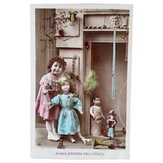 French Tinted Real Photo Postcard, Little Girl, Dolls & Toys, Circa 1910s
