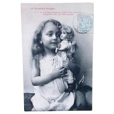 French Real Photo Postcard, The New Doll #1, Postmarked 1903