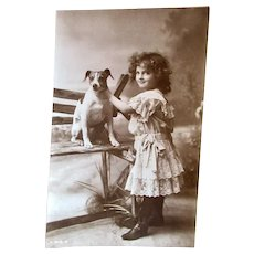 British Real Photo Postcard, Little Girl and Spotted Dog, Circa 1910s