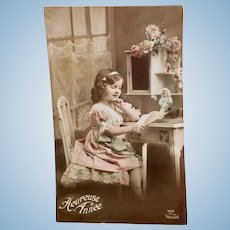 Tinted French Real Photo Postcard, Girl & Doll, New Year, Dated 1914