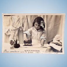 French Tinted Real Photo Postcard, The Little Laundress, Early 1900s