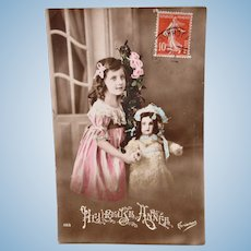 Tinted French Real Photo Postcard, Girl, Doll & Roses, New Year, Postmarked 1915